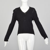 Medium 1990s  Black Cashmere Sweater Giorgio Sant'Angelo Wool Beaded Fringe Evening