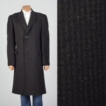 Large 1950s Mens Black Wool Overcoat Striped Convertible Pockets Wide Lapel Single Vent Winter