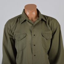 XXL Mens 1960s Shirt Army Green Twill Workwear Snap Front Long Sleeve Collared Button Down - Fashionconstellate.com