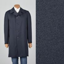 Medium 1970s Mens Navy Overcoat Pockets Removable Liner Single Vent Year Round Button Front