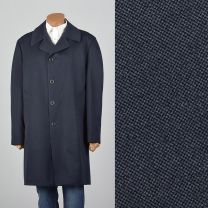 XL 1970s Mens Navy Overcoat Plaid Zip Liner Single Vent Large Pockets Medium Weight Year Round