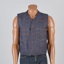 Large Mens 1970s Vest Blue Jean Denim Faux Shearling Lining Snap Front Top Stitch Outerwear