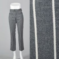 XS 1970s Grey Pants with White Stripe Belt Loops Welt Pockets Capri Length