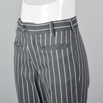 XS 1970s Grey Pants with White Stripe Belt Loops Welt Pockets Capri Length - Fashionconstellate.com