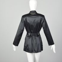 Small St John Sport Black Trench Coat Satin Lightweight Zip Front Jacket - Fashionconstellate.com