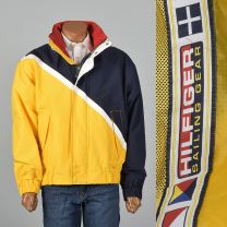 XL 1990s Mens Tommy Hilfiger Sailing Gear Jacket Pockets Hood Yellow Navy Zip Front Logo Patch