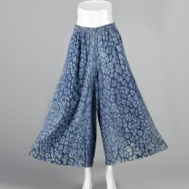 Small 1980s Blue Abstract Animal Print Palazzo Pants Lightweight Elastic Waistband Wide Legs  - Fashionconstellate.com