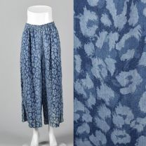 Small 1980s Blue Abstract Animal Print Palazzo Pants Lightweight Elastic Waistband Wide Legs