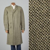 Large 1950s Mens Tweed Overcoat Button Front Flap Pockets Single Vent Heavy Weight 50s Vintage Coat