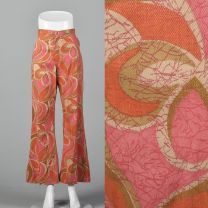 Small 1970s Wrangler Pink and Orange Abstract Print Jeans Bell Bottoms Front Zip Boho Hippie