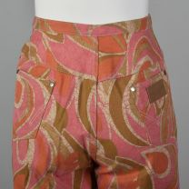 Small 1970s Wrangler Pink and Orange Abstract Print Jeans Bell Bottoms Front Zip Boho Hippie - Fashionconstellate.com