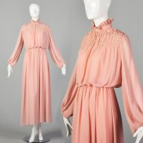 Small 1970s Pink Maxi Dress Boho Long Sleeve Secretary with High Collar