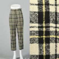 XS Wool Plaid Cigarette Pants Slubbed Fabric White Black Yellow Pocket Lightweight Ankle Cropped
