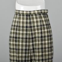 XS Wool Plaid Cigarette Pants Slubbed Fabric White Black Yellow Pocket Lightweight Ankle Cropped  - Fashionconstellate.com