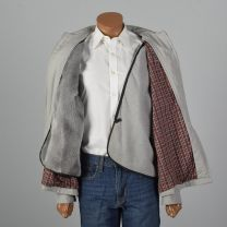 XL 1980s Mens Gray Jacket Faux Fur Zip Out Liner Plaid Lining Pockets Fall Spring Zip Front Gray  - Fashionconstellate.com