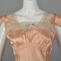 Medium 1940s Pink Nightgown Lace Trim Lingerie Silky Blue Ribbon Puff Sleeves Square Neckline  - Fashionconstellate.com
