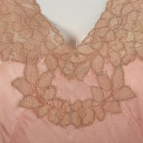 Medium 1940s Pink Nightgown Lightweight Silky Feel Lace Applique Flutter Sleeve Vintage Lingerie - Fashionconstellate.com