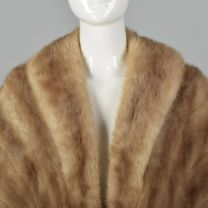 1950s Fur Stole Brown Mink Wrap Evening Formal Winter Outerwear Draped Shawl - Fashionconstellate.com