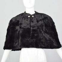1940s Black Sheared Fur Stole Red Satin Lining Fur Outerwear Formal Outerwear Glamorous