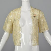 Small 1990s Ivory White Lace Top Embroidered Floral Applique Cropped Bolero Jacket