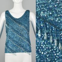 Small 1960s Blue Beaded Tank Top Sleeveless Sequin Blouse Wool Knit Shell Cocktail Formal Shirt
