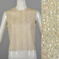 Small 1960s Tank Top Pink Ivory Striped Sequin Beaded Fringe Blouse High Neck Sleeveless Shell Shirt