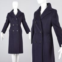 Small 1970s Coat Navy Blue Cashmere Pucci Designer Bespoke Double Breasted Winter Coat Silk Lined
