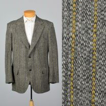 43L Large Mens Gray Blazer Jacket 1970s Bespoke Yellow Pinstripe Tweed Sports Coat