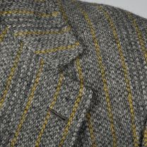 43L Large Mens Gray Blazer Jacket 1970s Bespoke Yellow Pinstripe Tweed Sports Coat  - Fashionconstellate.com