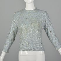 XS 1960s Light Blue Sweater Fully Beaded and Sequined Evening Wool Knit Long Sleeve Top