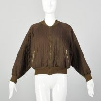 Large Sonia Rykiel Brown Bomber Jacket 1990s Quilted Cotton Knit Zip Up Jacket