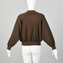 Large Sonia Rykiel Brown Bomber Jacket 1990s Quilted Cotton Knit Zip Up Jacket - Fashionconstellate.com