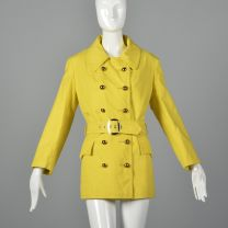 Small 1960s Anne Klein Yellow Trench Coat Cotton Canvas Coat Double Breasted Mod Outerwear
