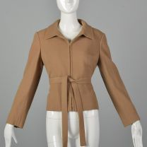 Small 1970s Camel Crepe Jacket with Belt Saks Fifth Avenue