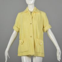 XS 1950s Terry Cloth Beach Shirt Vintage Beach Cover Up Yellow Terrycloth Shirt Swim Coverup