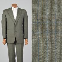 43R 1970s Green Plaid Suit Two Piece Convertible Pockets Matching Set Flat Front Pants