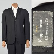 41R 1950s Black Two Piece Suit Convertible Pockets Three Button Jacket Pleat Front Cuffed Hem Pants
