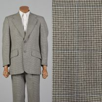 40R 1970s Brown Houndstooth Suit Convertible Flap Pockets Wide Lapel Jacket Flat Front Pants