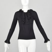 XS Black Knit Top Long Sleeve Silk Chiffon Beaded Collar Keyhole Neck Ruffled Cuffs
