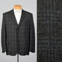 44R Large-XL Charcoal Blazer 1960s Black and Gray Plaid Three Button Single Vent Sports Coat Jacket