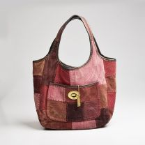 Coach Ltd Ed Ergo Tote Red Patchwork Leather Suede Large Purse Hobo Bag