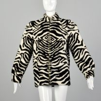 XS 1980s Lilli Ann Plush Zebra Jacket Faux Fur Cozy Winter Outerwear