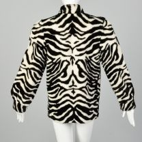 XS 1980s Lilli Ann Plush Zebra Jacket Faux Fur Cozy Winter Outerwear - Fashionconstellate.com