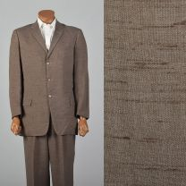 42L 1950s Brown Fleck Summer Suit Three Button Jacket Single Vent Matching Pleat Front Pants