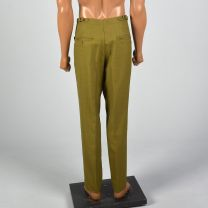 Small 1960s Mens Green Flat Front Pants Adjustable Belted Waist Straight Leg Pockets Zip Fly - Fashionconstellate.com