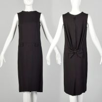 XS 1960s Little Black Dress Mod Sleeveless Shift
