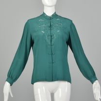 Medium 1960s Green Blouse Long Sleeve Top Bohemian Silk Lace Button Up Top