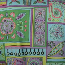 Large 1960s Top 3/4 Sleeve Button Front Geometric Print Colorful Spring Summer Pink Green Aqua Shirt - Fashionconstellate.com
