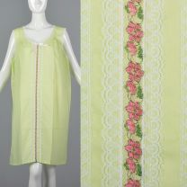 XXL Green Nightgown 1960s Knee-Length with Floral Details and Lace Trim Sleepwear Lingerie