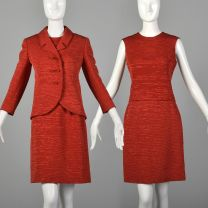 XS 1960s Skirt Suit Harrods Bright Red Three Piece Jacket Top Skirt Formal Business Set